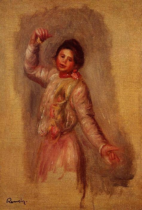 Dancer with Castenets, 1895 by Pierre-Auguste Renoir (1841-1919, France) | Famous Paintings Reproductions | WahooArt.com