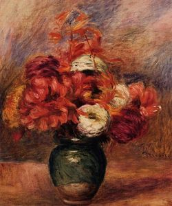 Pierre-Auguste Renoir - Flowers in a Green Vase Dahlilas and Asters