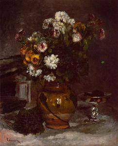 Pierre-Auguste Renoir - Flowers in a Vase and a Glass of Champagne