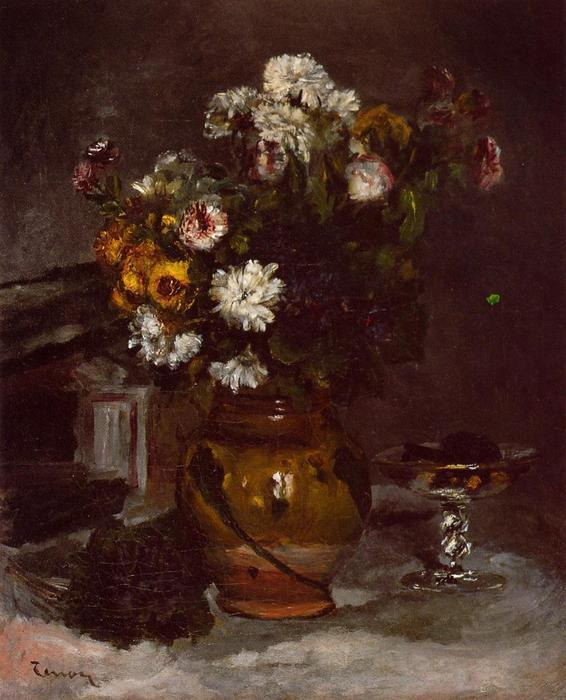 Flowers in a Vase and a Glass of Champagne by Pierre-Auguste Renoir (1841-1919, France) | Paintings Reproductions Pierre-Auguste Renoir | WahooArt.com