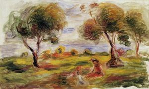 Pierre-Auguste Renoir - Landscape with Figures at Cagnes
