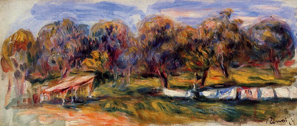 Landscape with Orchard, 1910 by Pierre-Auguste Renoir (1841-1919, France) | Art Reproductions Pierre-Auguste Renoir | WahooArt.com