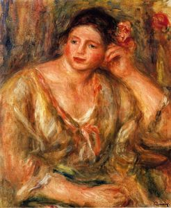 Pierre-Auguste Renoir - Madeleine Leaning on Her Elbow with Flowers in Her Hair