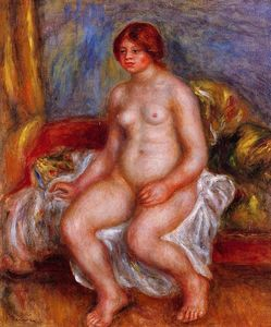 Pierre-Auguste Renoir - Nude Woman on Gree Cushions