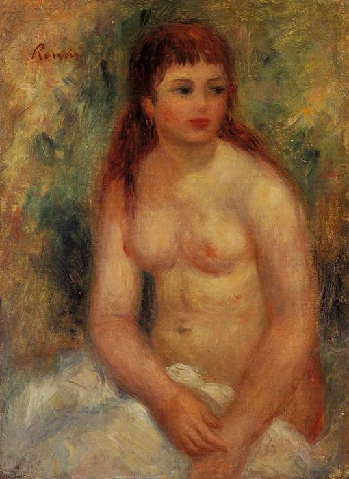 Seated Young Woman, Nude, Oil On Canvas by Pierre-Auguste Renoir (1841-1919, France)