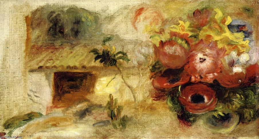 Small House, Buttercups and Diverse Flowers (study), 1910 by Pierre-Auguste Renoir (1841-1919, France) | Art Reproduction | WahooArt.com