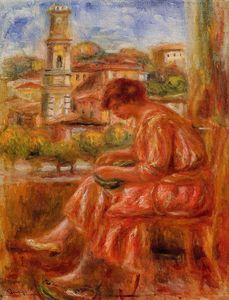Pierre-Auguste Renoir - Woman at the Window with a View of Nice
