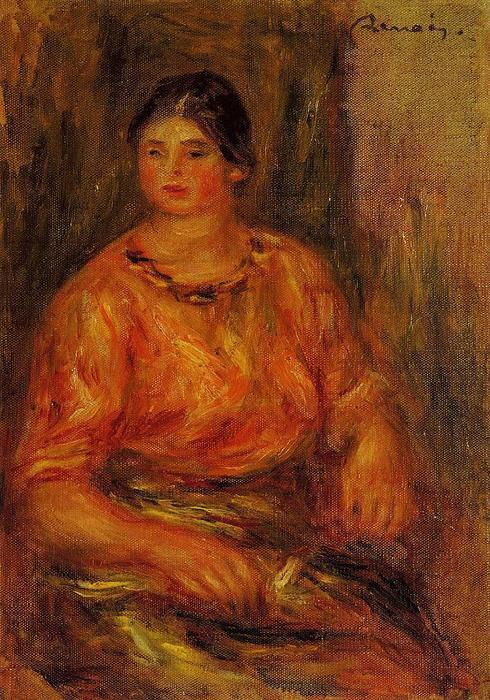 Woman in a Red Blouse 1, Oil by Pierre-Auguste Renoir (1841-1919, France)