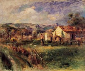 Pierre-Auguste Renoir - Young Woman Standing near a Farmhouse in Milly