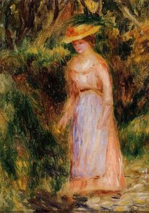 Young Woman Taking a Walk, Oil by Pierre-Auguste Renoir  (order Fine Art Print on canvas Pierre-Auguste Renoir)