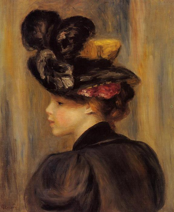 Young Woman Wearing a Black Hat, Oil by Pierre-Auguste Renoir (1841-1919, France)