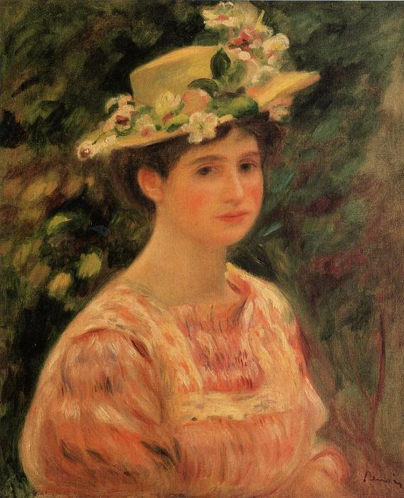 Young Woman Wearing a Hat with Wild Roses, Oil by Pierre-Auguste Renoir  (order Fine Art Print on canvas Pierre-Auguste Renoir)