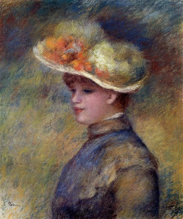 Young Woman Wearing a Hat, Oil by Pierre-Auguste Renoir (1841-1919, France)