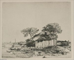 Rembrandt Van Rijn - A Cottage with White Pales