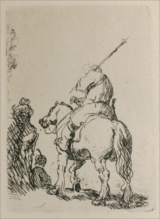 A Man on Horesback, Engraving by Rembrandt Van Rijn (1606-1669, Netherlands)