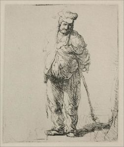 Rembrandt Van Rijn - A Ragged Peasant with his Hands Behind Him