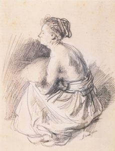 Rembrandt Van Rijn - A Seated Woman, Naked to the Waste