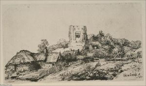 Rembrandt Van Rijn - A Village with a Square Tower