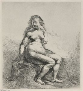 Rembrandt Van Rijn - A Woman Sitting on a Hillock