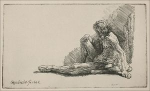 Rembrandt Van Rijn - An Acedemical Figure Seated on the Ground