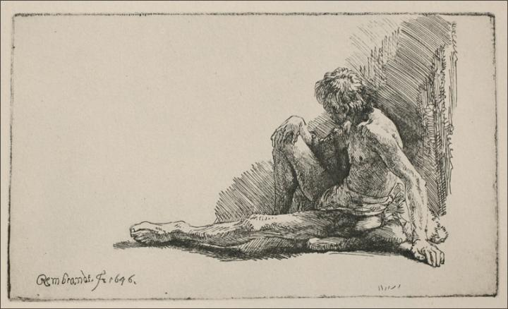 An Acedemical Figure Seated on the Ground, Engraving by Rembrandt Van Rijn (1606-1669, Netherlands)