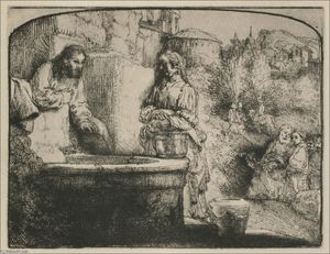 Rembrandt Van Rijn - Jesus and the Smaritan Woman; an Arched Print