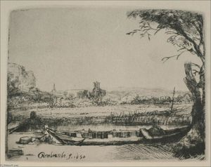 Rembrandt Van Rijn - Landscape with a Canal and Large Boat