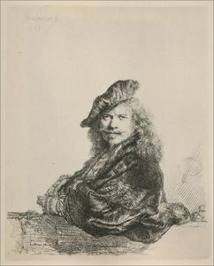Rembrandt Van Rijn - Rembrandt Leaning on a Stone Sill