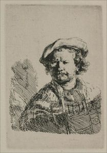 Rembrandt Van Rijn - Rembrandt with a Flat Cap and Slashed Vest