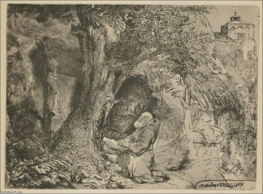 Saint Francis Praying by Rembrandt Van Rijn (1606-1669, Netherlands) | Famous Paintings Reproductions | WahooArt.com