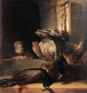 Rembrandt Van Rijn - Still-Life with Two Dead Peacocks and a Girl