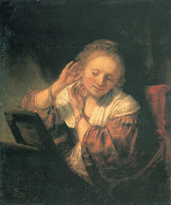 Young Woman at a Mirror, Oil by Rembrandt Van Rijn (1606-1669, Netherlands)