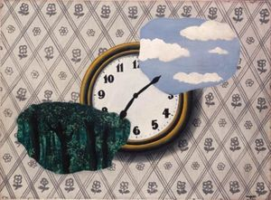 Rene Magritte - Composition with clock, sky and forest