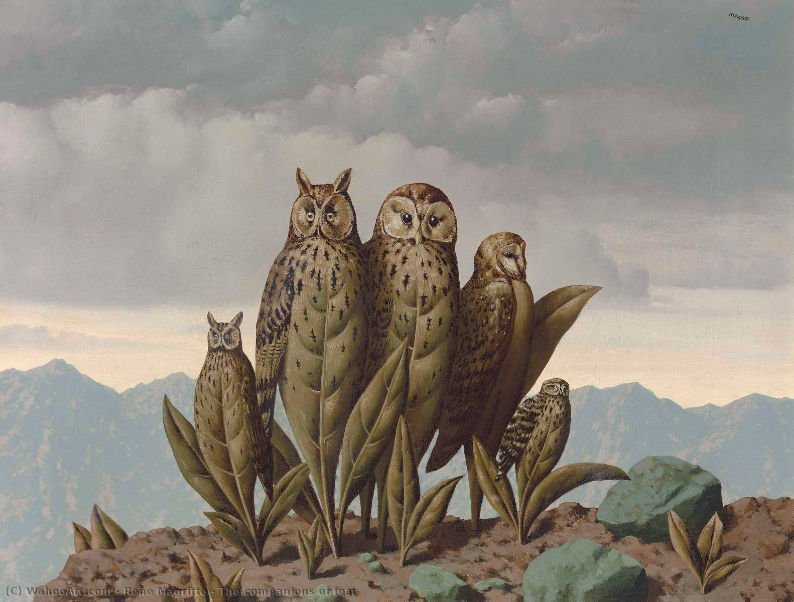 The companions of fear, Oil by Rene Magritte (1898-1967, Belgium)