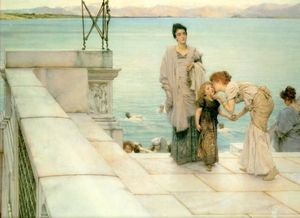 Lawrence Alma-Tadema - A Kiss - (Famous paintings reproduction)