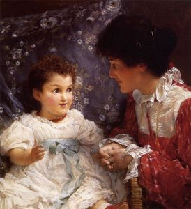 Order Famous Paintings Reproductions : Mrs. George Lewis and Her Daughter Elizabeth, 1899 by Lawrence Alma-Tadema (1836-1912, Netherlands) | WahooArt.com