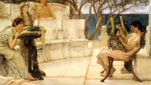 Order Oil Painting : Sappho and Alcaeus, 1881 by Lawrence Alma-Tadema (1836-1912, Netherlands) | WahooArt.com