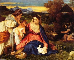 Tiziano Vecellio (Titian) - Madonna of the Rabbit (aka Madonna and Child with St. Catherine and a Rabbit)