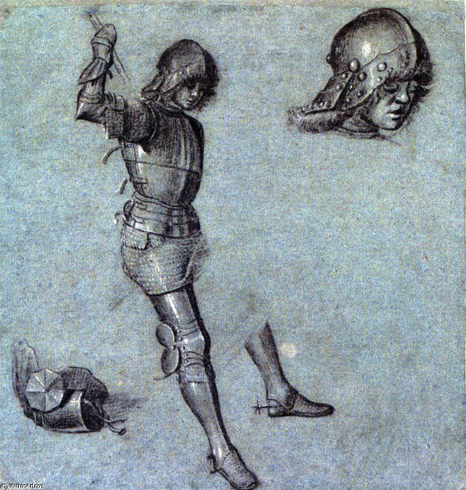 Three Studies of a Cavalier in Armor, Oil On Canvas by Vittore Carpaccio (1465-1526, Italy)