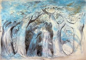 William Blake - Dante and Virgil enter the woods