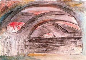 William Blake - Dante y Virgilio con los diablos al borde del Lago de Pez
