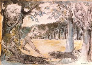 William Blake - Greyhounds of hell chasing the destroyers of their own property