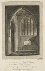 William Blake - View of St. Edmund-s Chapel in the Church of East Dereham, containing the Grave of William Cowper Esquire