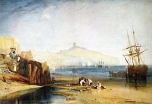 William Turner - Scarborough Town and Castle. Morning.Boys Catching Crabs