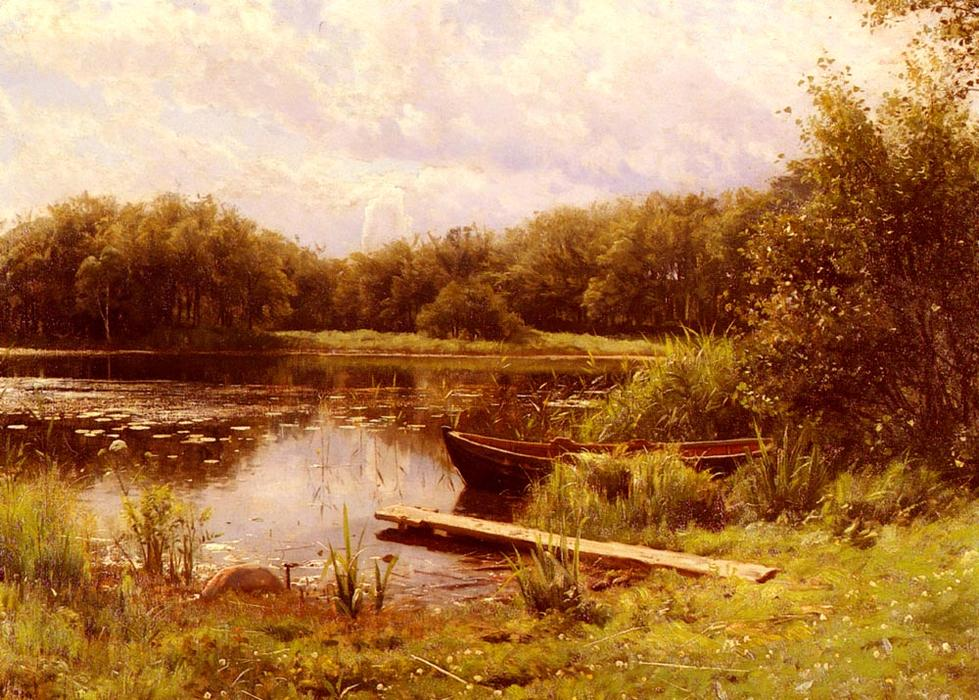 A Boat Moored On A Quiet Lake, Oil by Peder Mork Monsted (1859-1941, Denmark)