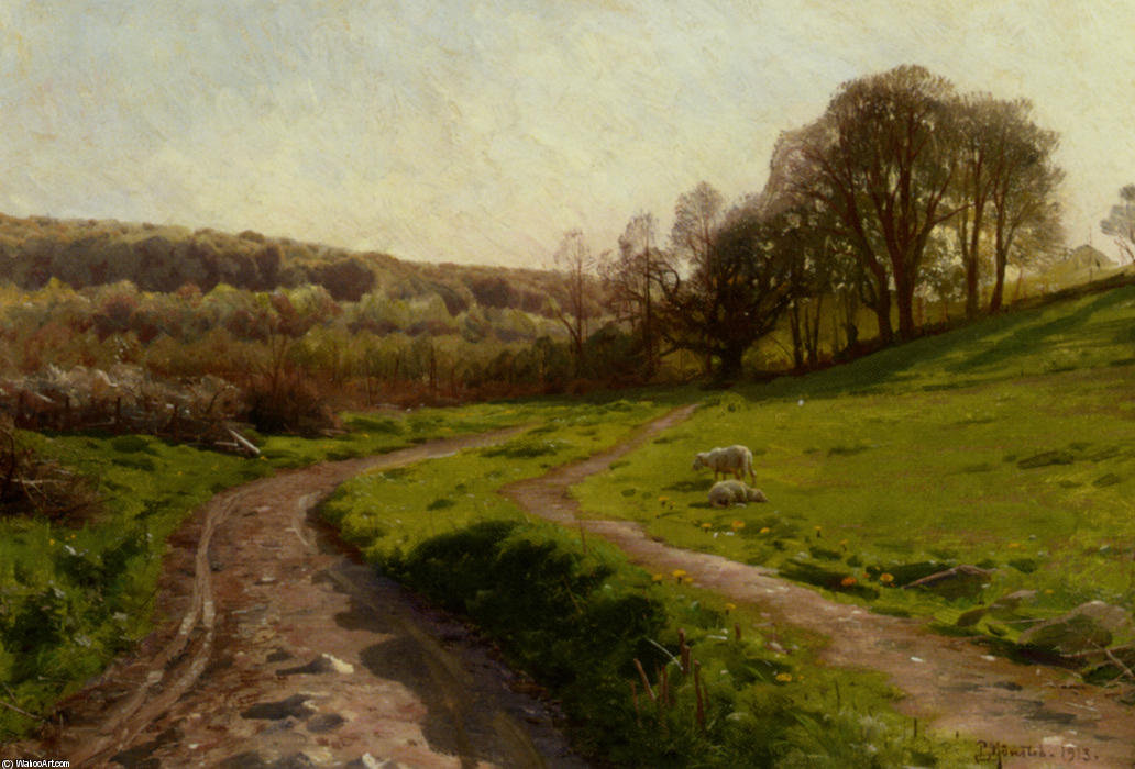A Country Field by Peder Mork Monsted (1859-1941, Denmark) | Art Reproduction | WahooArt.com