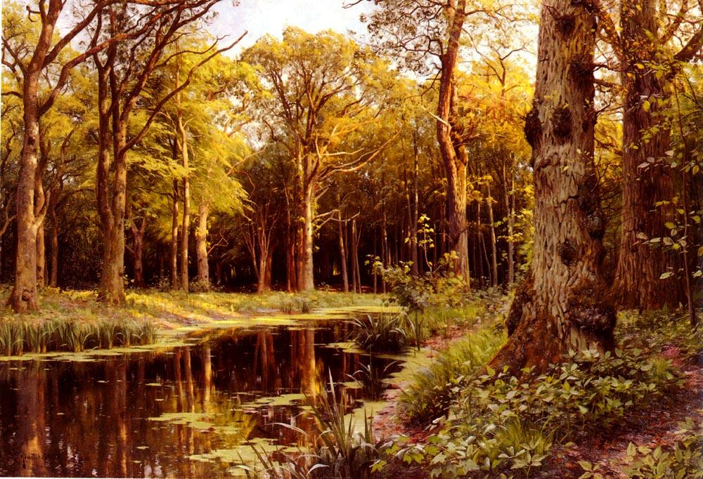 Order Painting Copy : A Forest Stream by Peder Mork Monsted (1859-1941, Denmark) | WahooArt.com