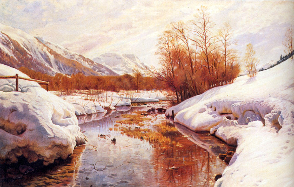 A Mountain Torrent In A Winter Landscape, Oil by Peder Mork Monsted (1859-1941, Denmark)