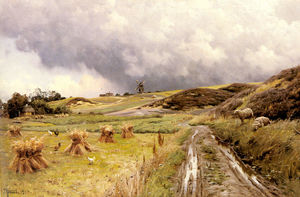 Peder Mork Monsted - A Pastoral Landscape after a Storm