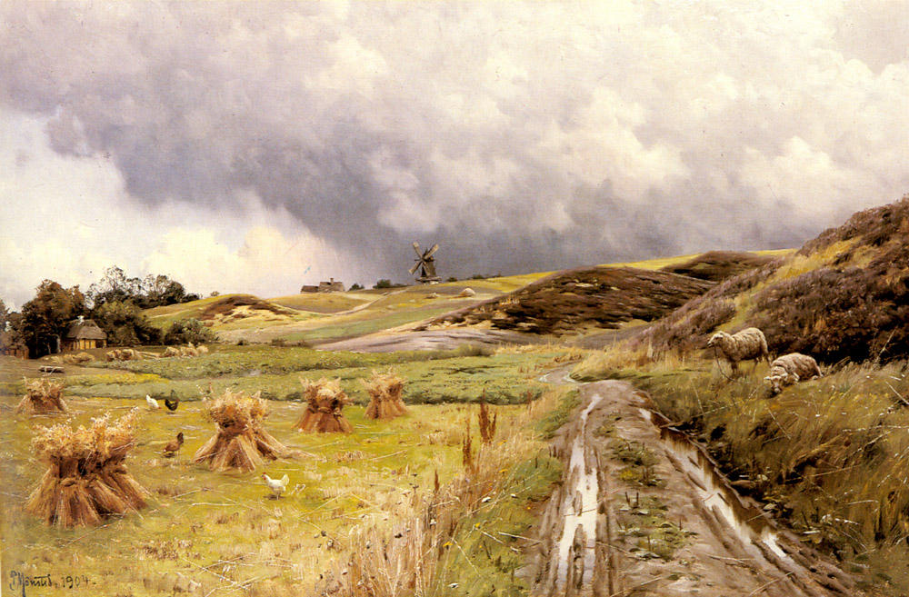 A Pastoral Landscape after a Storm by Peder Mork Monsted (1859-1941, Denmark) | Famous Paintings Reproductions | WahooArt.com